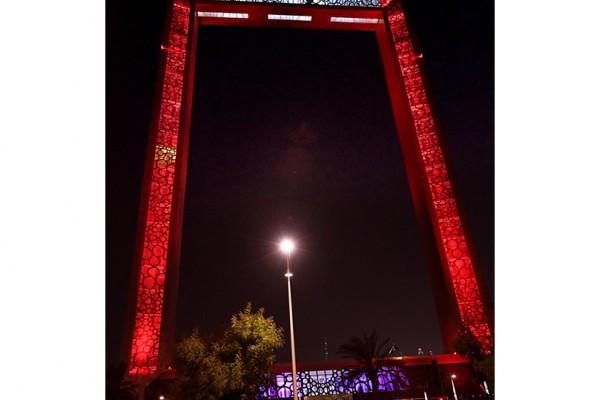Dubai Frame shines red celebrating UAE-China Week